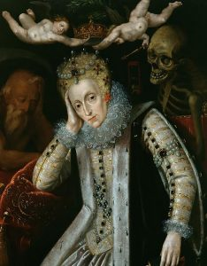 CRS225667 Queen Elizabeth I (1538-1603) in Old Age, c.1610 (oil on panel) by English School, (17th century); Corsham Court, Wiltshire; English, out of copyright